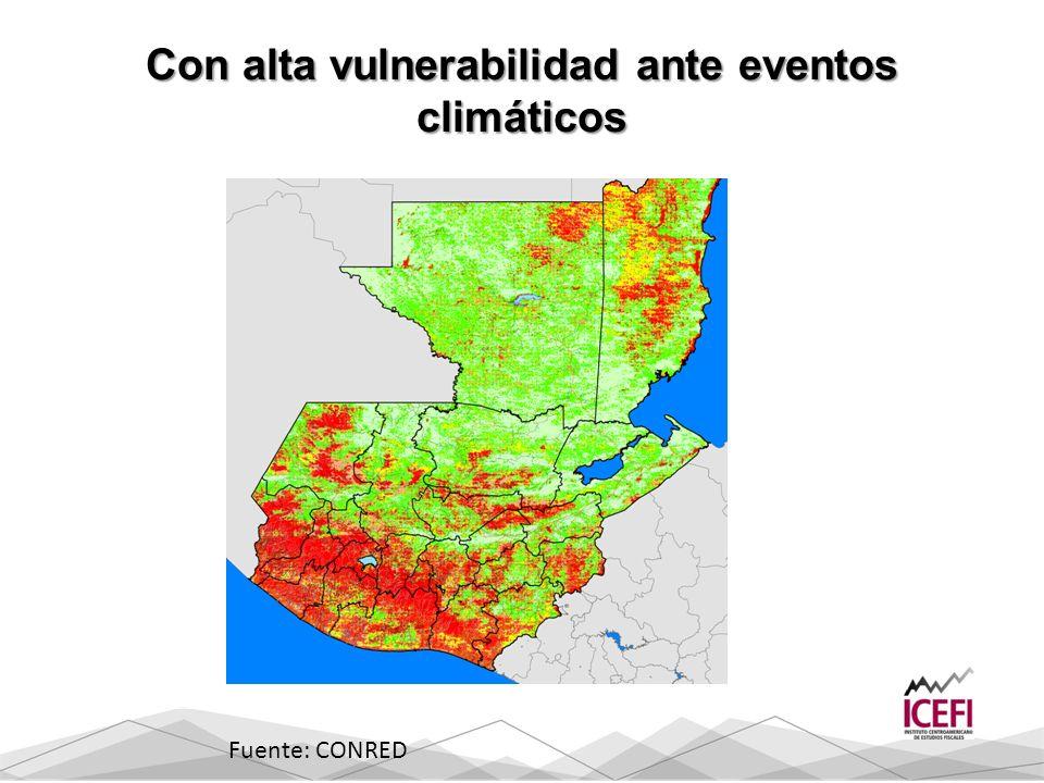 Con alta vulnerabilidad ante eventos climáticos Fuente: CONRED