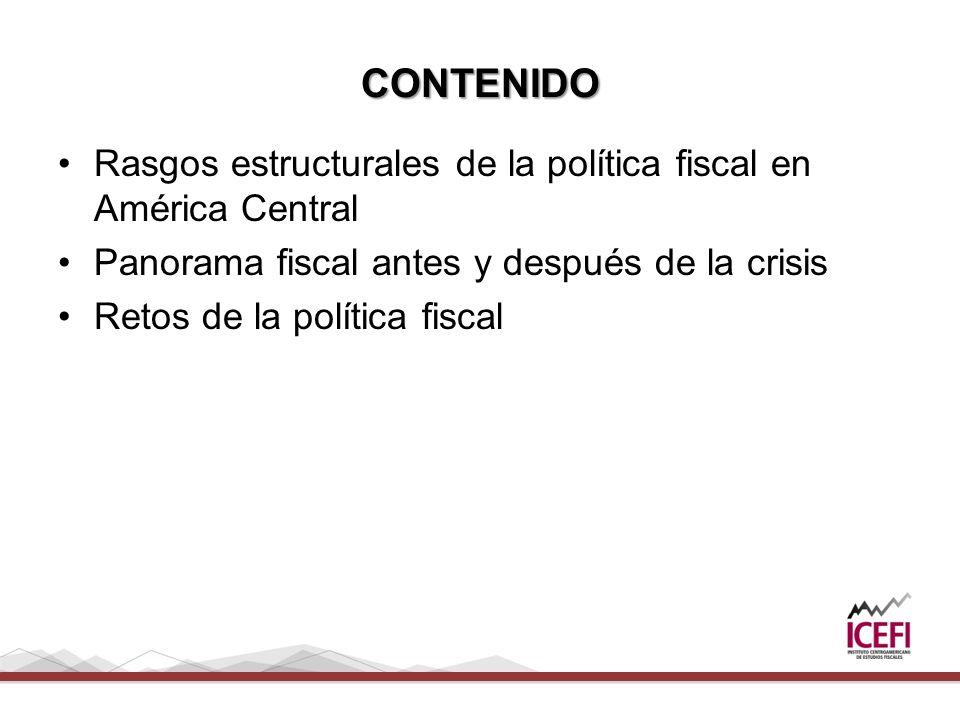 CONTENIDO Rasgos estructurales de la política fiscal en América Central Panorama fiscal antes y después de la crisis Retos de la política fiscal