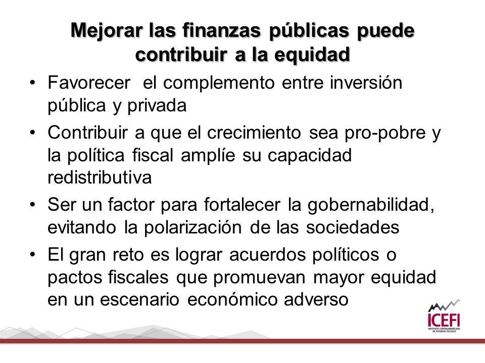 Mejorar las finanzas públicas puede contribuir a la equidad Favorecer el complemento entre inversión pública y privada Contribuir a que el crecimiento