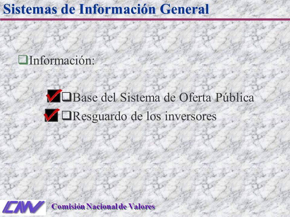 qInformación: qBase del Sistema de Oferta Pública qResguardo de los inversores Sistemas de Información General Comisión Nacional de Valores