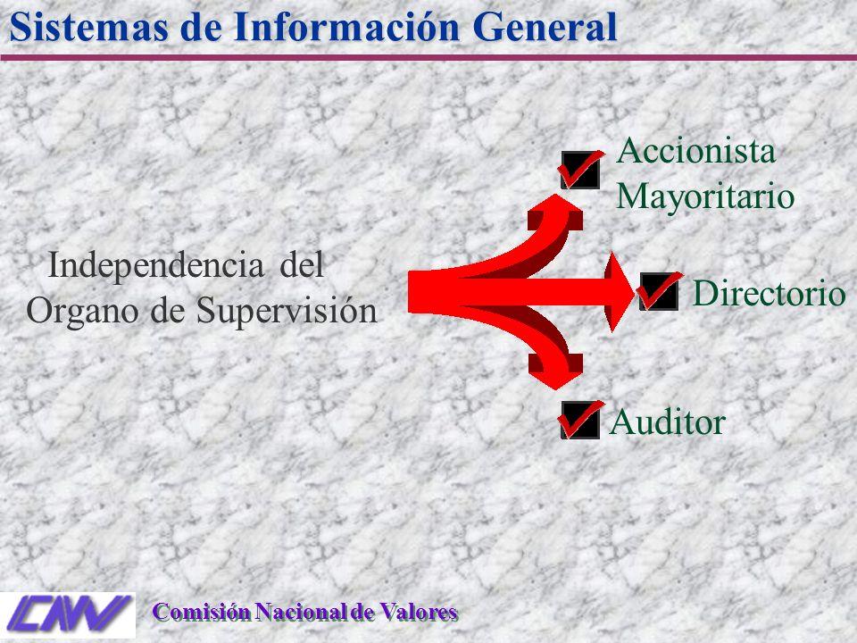 Accionista Mayoritario Independencia del Organo de Supervisión Sistemas de Información General Comisión Nacional de Valores Directorio Auditor