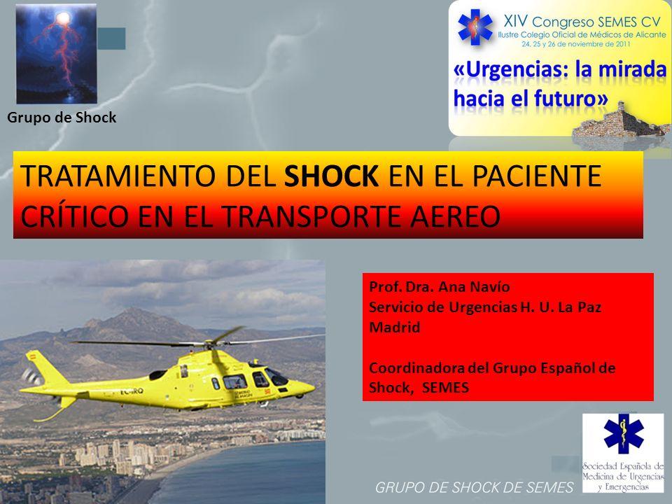 Grupo de Shock TRATAMIENTO DEL SHOCK EN EL PACIENTE CRÍTICO EN EL TRANSPORTE AEREO Prof. Dra. Ana Navío Servicio de Urgencias H. U. La Paz Madrid Coor