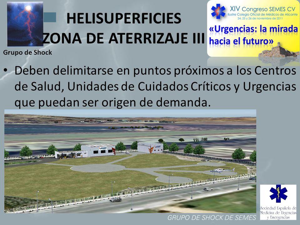 Grupo de Shock HELISUPERFICIES ZONA DE ATERRIZAJE III Deben delimitarse en puntos próximos a los Centros de Salud, Unidades de Cuidados Críticos y Urg