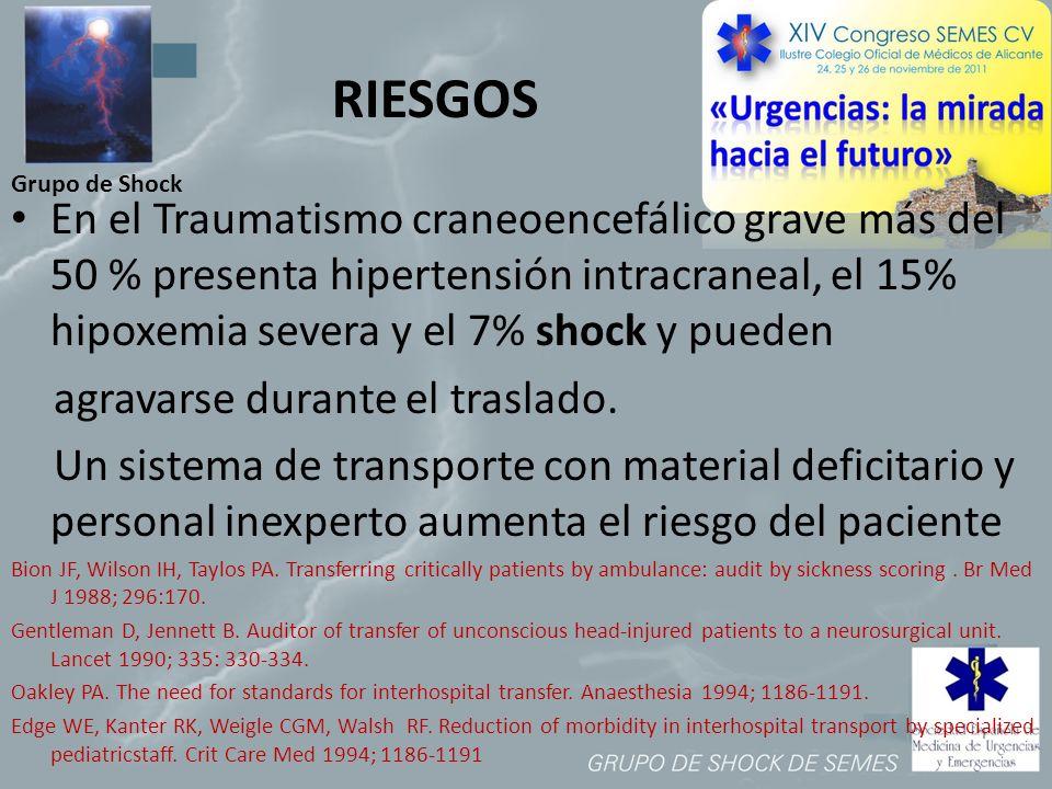 Grupo de Shock RIESGOS En el Traumatismo craneoencefálico grave más del 50 % presenta hipertensión intracraneal, el 15% hipoxemia severa y el 7% shock