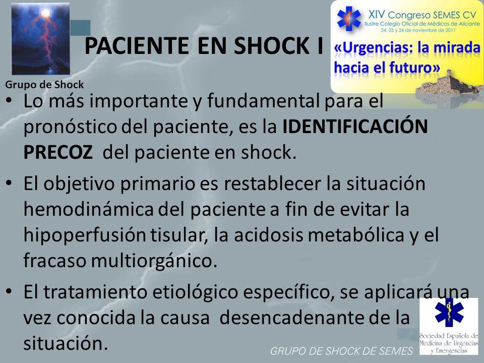 Grupo de Shock PACIENTE EN SHOCK I Lo más importante y fundamental para el pronóstico del paciente, es la IDENTIFICACIÓN PRECOZ del paciente en shock.