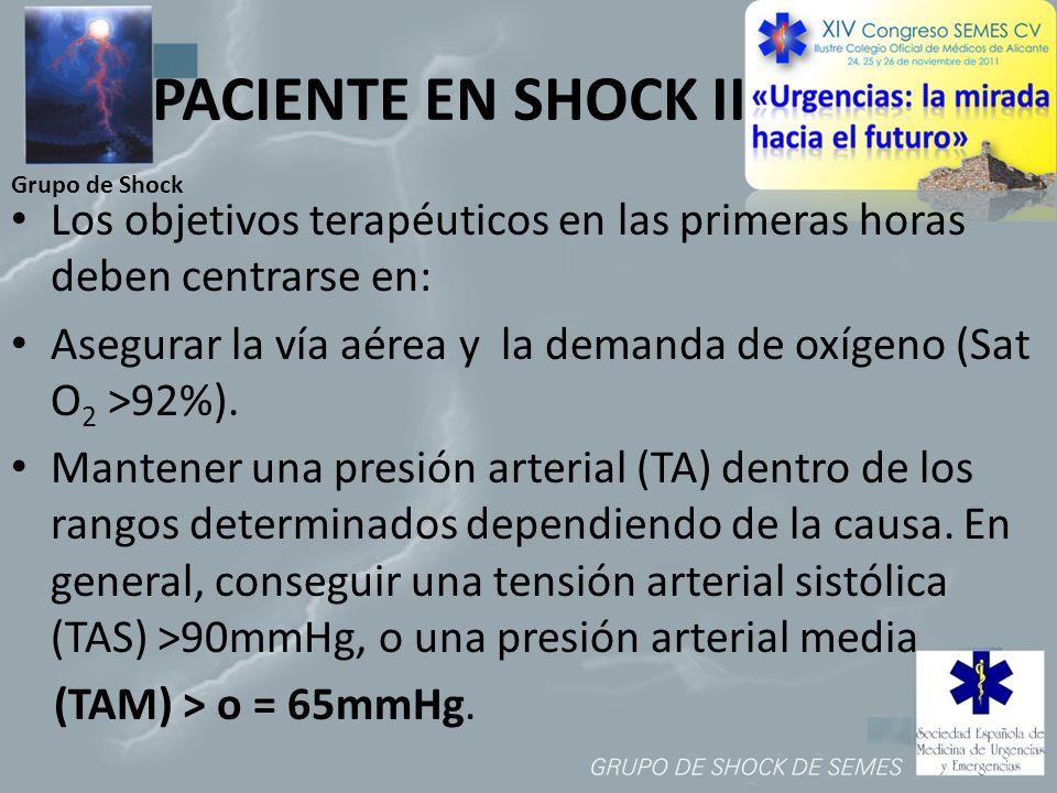 Grupo de Shock PACIENTE EN SHOCK II Los objetivos terapéuticos en las primeras horas deben centrarse en: Asegurar la vía aérea y la demanda de oxígeno
