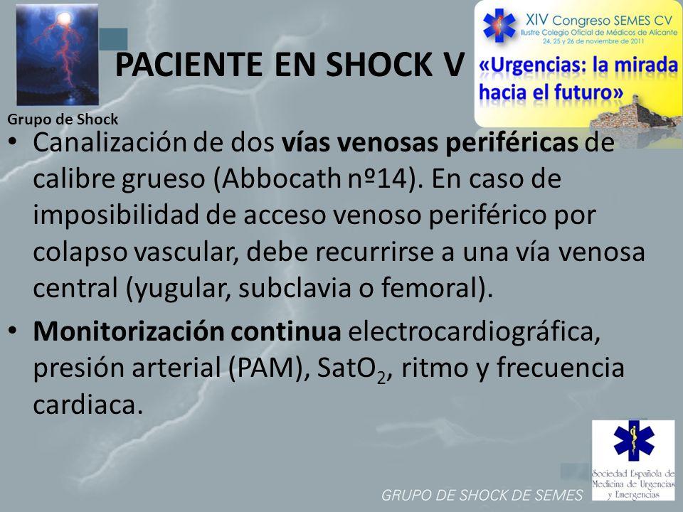 Grupo de Shock PACIENTE EN SHOCK V Canalización de dos vías venosas periféricas de calibre grueso (Abbocath nº14). En caso de imposibilidad de acceso