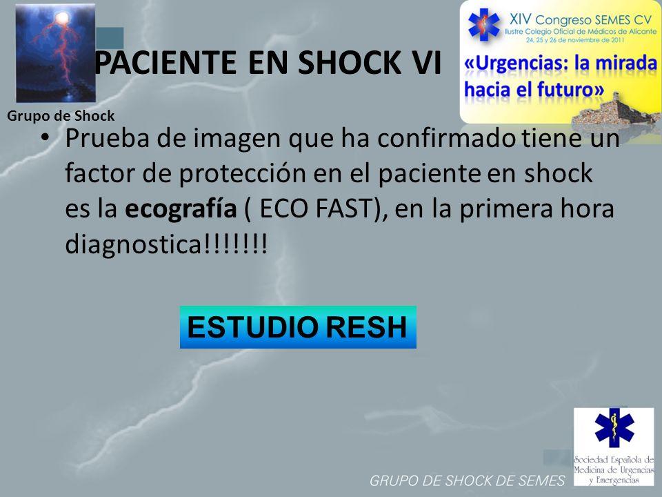 Grupo de Shock PACIENTE EN SHOCK VI Prueba de imagen que ha confirmado tiene un factor de protección en el paciente en shock es la ecografía ( ECO FAS