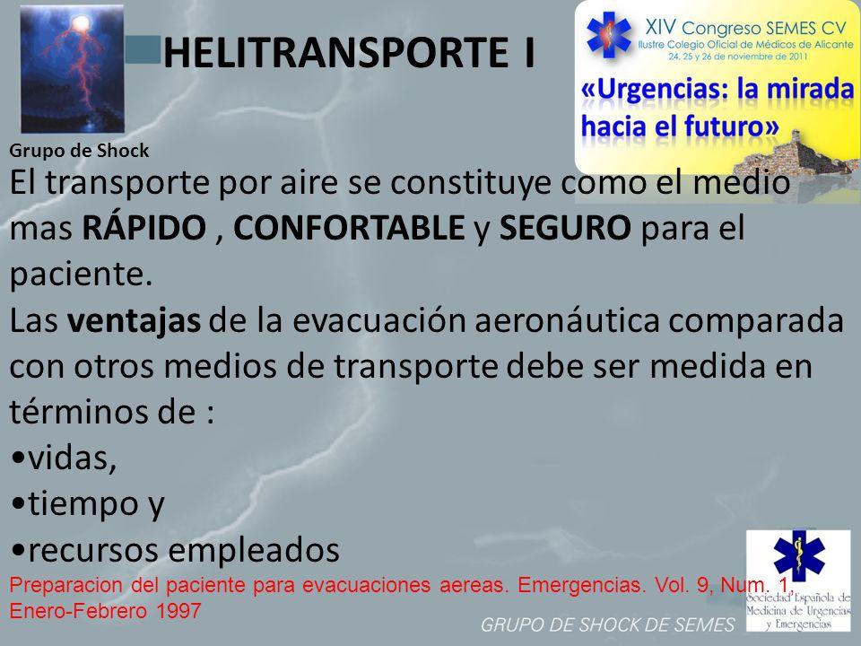 Grupo de Shock El transporte por aire se constituye como el medio mas RÁPIDO, CONFORTABLE y SEGURO para el paciente. Las ventajas de la evacuación aer