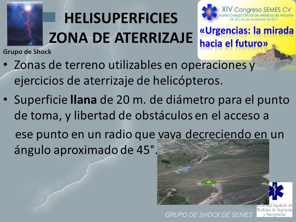 Grupo de Shock HELISUPERFICIES ZONA DE ATERRIZAJE Zonas de terreno utilizables en operaciones y ejercicios de aterrizaje de helicópteros. Superficie l