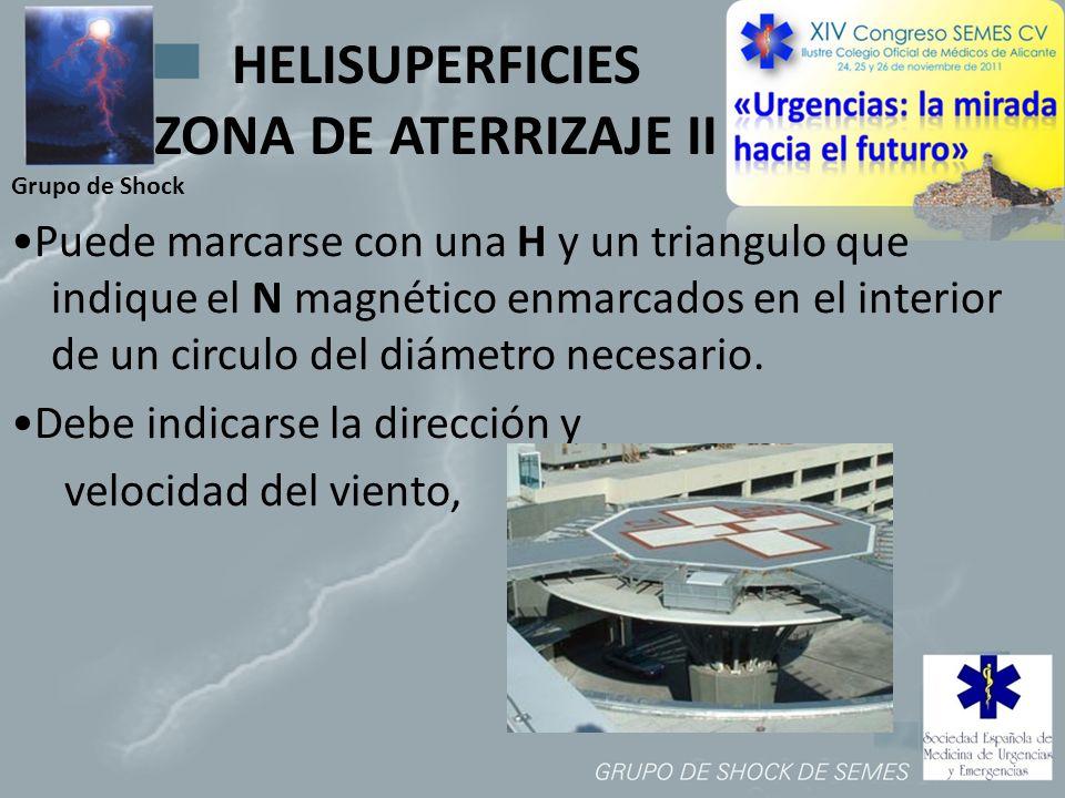 Grupo de Shock HELISUPERFICIES ZONA DE ATERRIZAJE II Puede marcarse con una H y un triangulo que indique el N magnético enmarcados en el interior de u