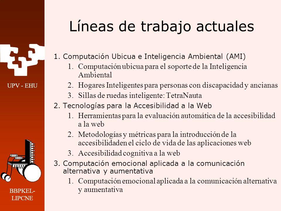 UPV - EHU BBPKEL- LIPCNE Líneas de trabajo actuales 1.Computación Ubicua e Inteligencia Ambiental (AMI) 1.Computación ubicua para el soporte de la Int