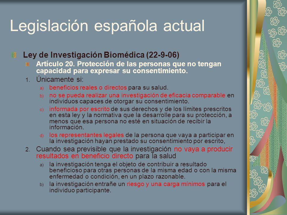 Legislación española actual Ley de Investigación Biomédica (22-9-06) Artículo 20. Protección de las personas que no tengan capacidad para expresar su