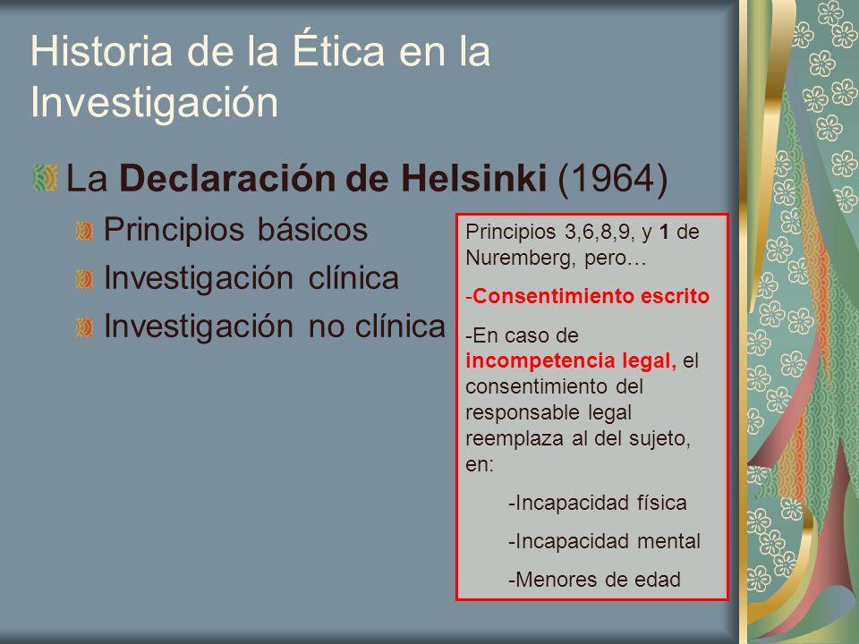 Historia de la Ética en la Investigación La Declaración de Helsinki (1964) Principios básicos Investigación clínica Investigación no clínica Principio