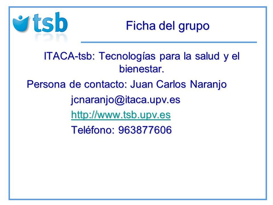 Ficha del grupo ITACA-tsb: Tecnologías para la salud y el bienestar.