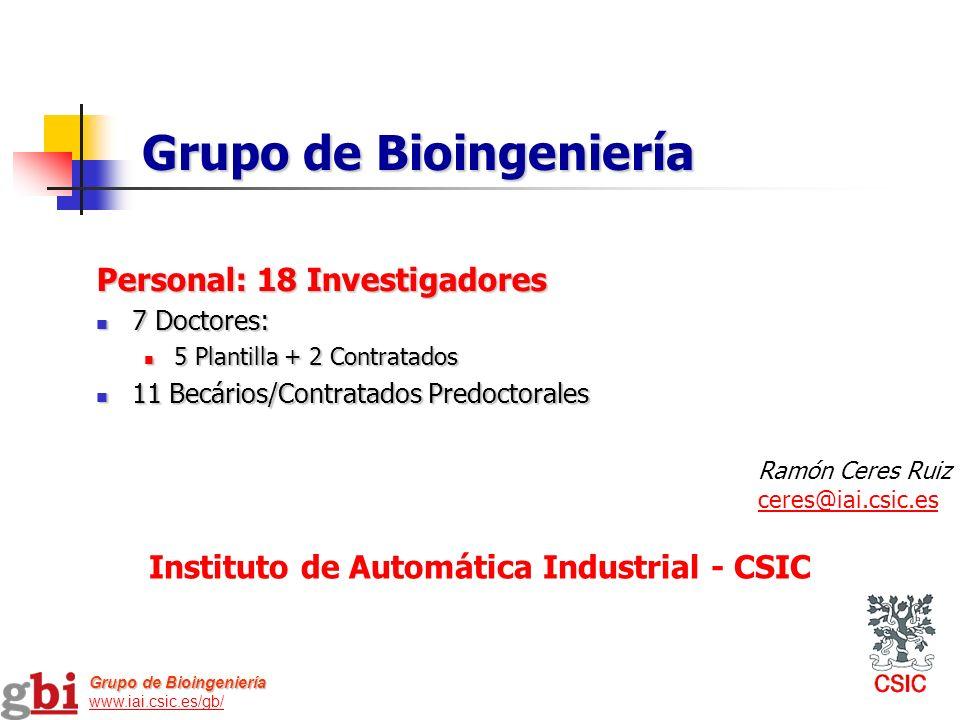 Personal: 18 Investigadores 7 Doctores: 7 Doctores: 5 Plantilla + 2 Contratados 5 Plantilla + 2 Contratados 11 Becários/Contratados Predoctorales 11 B