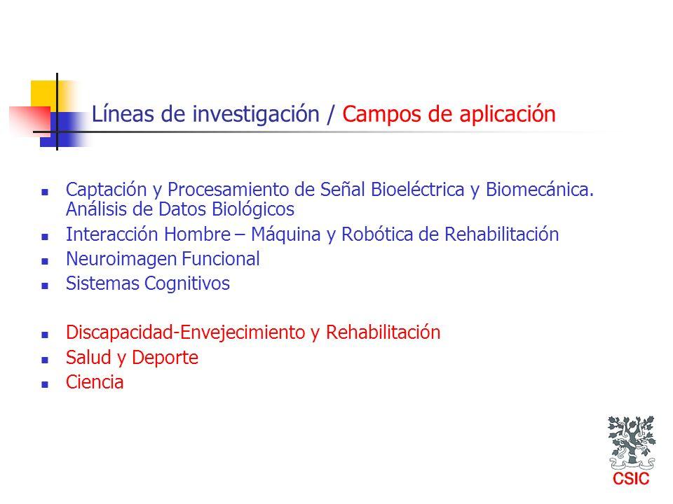 Líneas de investigación / Campos de aplicación Captación y Procesamiento de Señal Bioeléctrica y Biomecánica. Análisis de Datos Biológicos Interacción