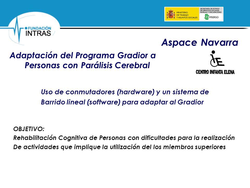 Adaptación del Programa Gradior a Personas con Parálisis Cerebral Aspace Navarra Uso de conmutadores (hardware) y un sistema de Barrido lineal (softwa