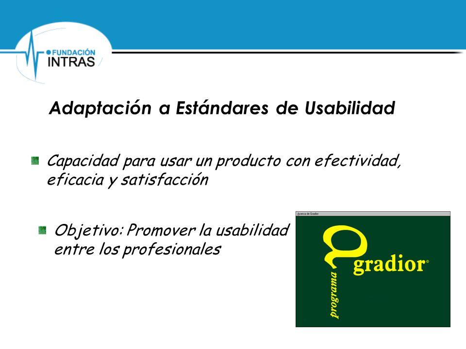 Adaptación a Estándares de Usabilidad Capacidad para usar un producto con efectividad, eficacia y satisfacción Objetivo: Promover la usabilidad entre