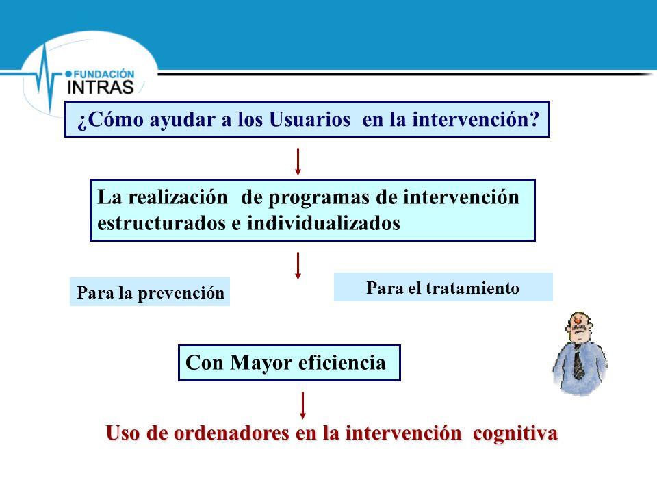 Uso de ordenadores en la intervención cognitiva Mediante el diseño de instrumentos de apoyo La realización de programas de intervención estructurados e individualizados ¿Cómo ayudar a los profesionales en la intervención.