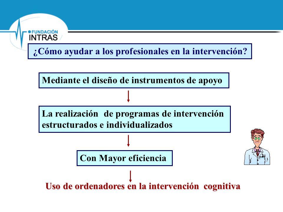 Uso de ordenadores en la intervención cognitiva Mediante el diseño de instrumentos de apoyo La realización de programas de intervención estructurados