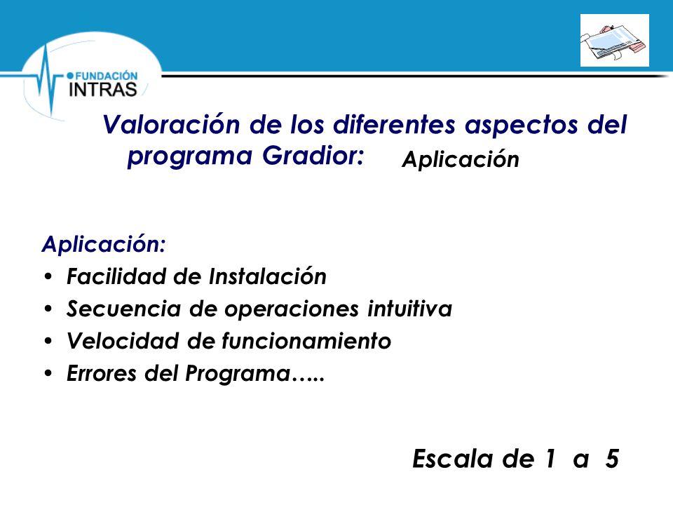 Valoración de los diferentes aspectos del programa Gradior: Aplicación Aplicación: Facilidad de Instalación Secuencia de operaciones intuitiva Velocid