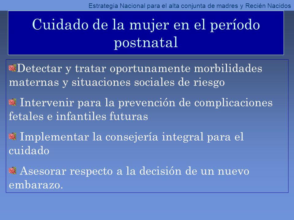 Cuidado de la mujer en el período postnatal Detectar y tratar oportunamente morbilidades maternas y situaciones sociales de riesgo Intervenir para la