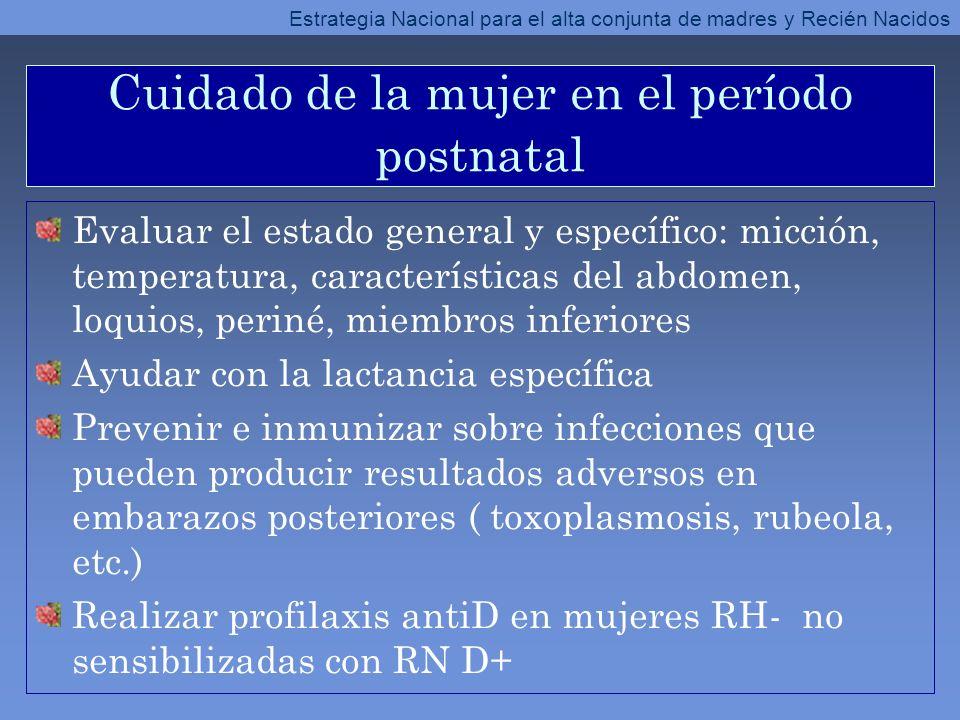 Cuidado de la mujer en el período postnatal Evaluar el estado general y específico: micción, temperatura, características del abdomen, loquios, periné