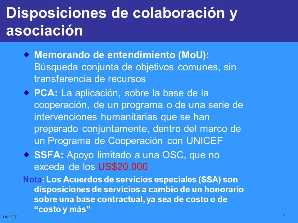 UNICEF 5 CCCs: Core Commitments for Children Memorando de entendimiento (MoU): Búsqueda conjunta de objetivos comunes, sin transferencia de recursos P