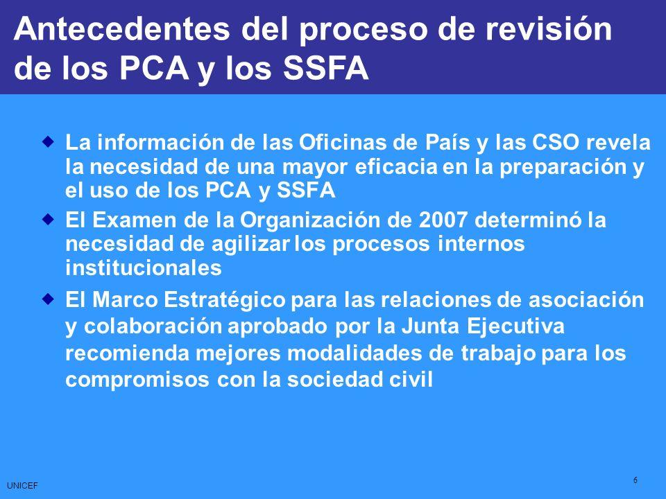 UNICEF 6 La información de las Oficinas de País y las CSO revela la necesidad de una mayor eficacia en la preparación y el uso de los PCA y SSFA El Ex