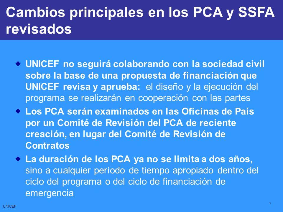 UNICEF 8 CCCs: Core Commitments for Children Hay dos nuevos tipos de PCA para elegir, dependiendo de la complejidad y el valor monetario de la colaboración: Opción I: Una versión más compleja del PCA, como por ejemplo cuando el valor es mayor de US$100.000 Opción II: Una versión menos compleja del PCA, como por ejemplo cuando el valor es inferior a US$100.000 El límite superior para los SSFA, el instrumento utilizado para apoyar el fomento de la capacidad de los asociados de la sociedad civil nacional, es ahora de US$20.000 (puede alcanzar el 10% del presupuesto anual del programa de UNICEF) Cambios principales en los PCA y SSFA revisados