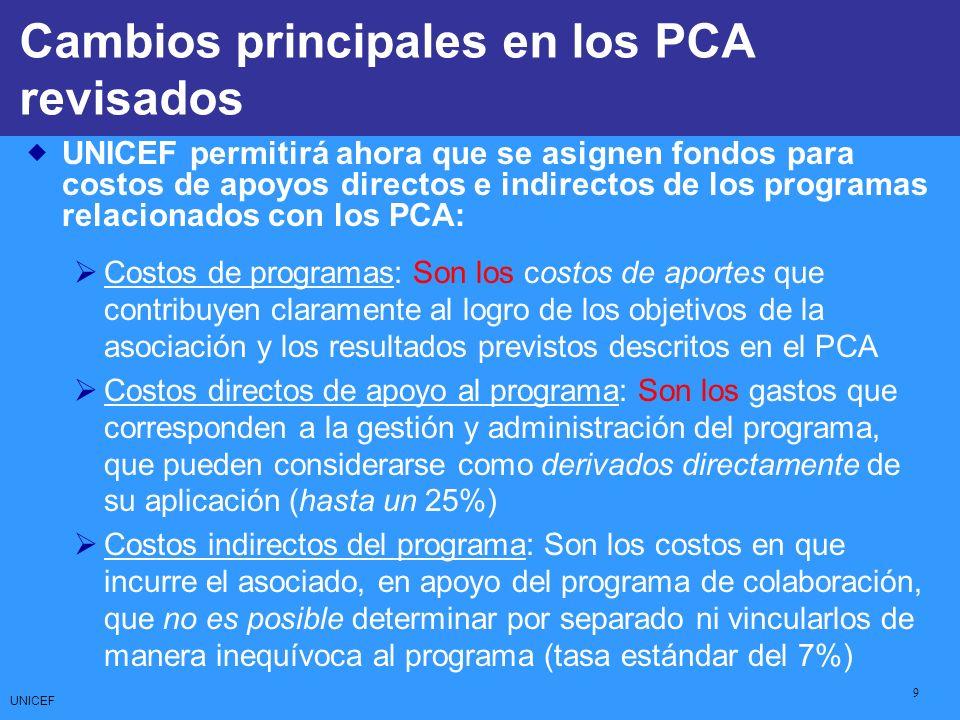 UNICEF 9 CCCs: Core Commitments for Children UNICEF permitirá ahora que se asignen fondos para costos de apoyos directos e indirectos de los programas relacionados con los PCA: Costos de programas: Son los costos de aportes que contribuyen claramente al logro de los objetivos de la asociación y los resultados previstos descritos en el PCA Costos directos de apoyo al programa: Son los gastos que corresponden a la gestión y administración del programa, que pueden considerarse como derivados directamente de su aplicación (hasta un 25%) Costos indirectos del programa: Son los costos en que incurre el asociado, en apoyo del programa de colaboración, que no es posible determinar por separado ni vincularlos de manera inequívoca al programa (tasa estándar del 7%) Cambios principales en los PCA revisados