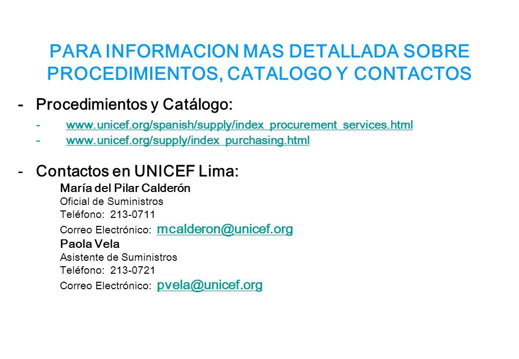 PARA INFORMACION MAS DETALLADA SOBRE PROCEDIMIENTOS, CATALOGO Y CONTACTOS -Procedimientos y Catálogo: -www.unicef.org/spanish/supply/index_procurement_services.htmlwww.unicef.org/spanish/supply/index_procurement_services.html -www.unicef.org/supply/index_purchasing.htmlwww.unicef.org/supply/index_purchasing.html -Contactos en UNICEF Lima: María del Pilar Calderón Oficial de Suministros Teléfono: 213-0711 Correo Electrónico: mcalderon@unicef.org mcalderon@unicef.org Paola Vela Asistente de Suministros Teléfono: 213-0721 Correo Electrónico: pvela@unicef.org pvela@unicef.org
