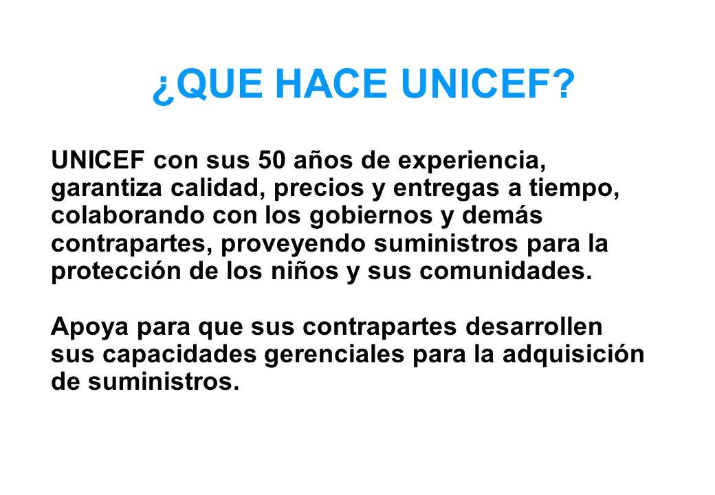 UNICEF con sus 50 años de experiencia, garantiza calidad, precios y entregas a tiempo, colaborando con los gobiernos y demás contrapartes, proveyendo suministros para la protección de los niños y sus comunidades.