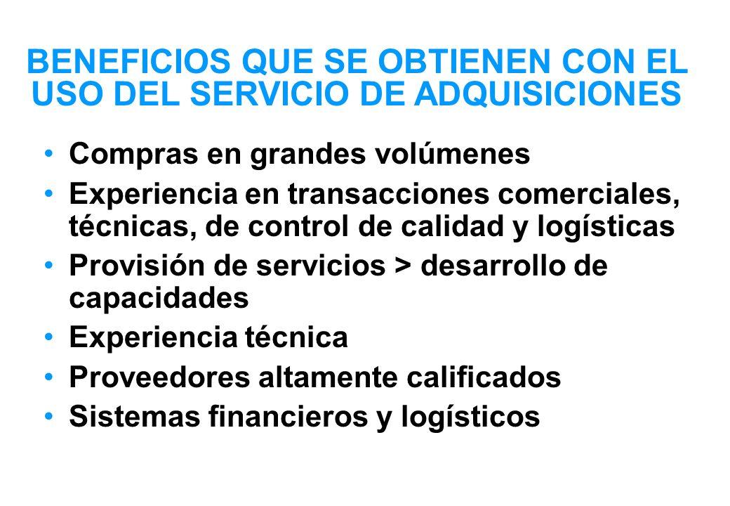 ¿CUALES SON LOS COSTOS .- UNICEF ofrece el Servicio de Adquicisiones sin fines de lucro.