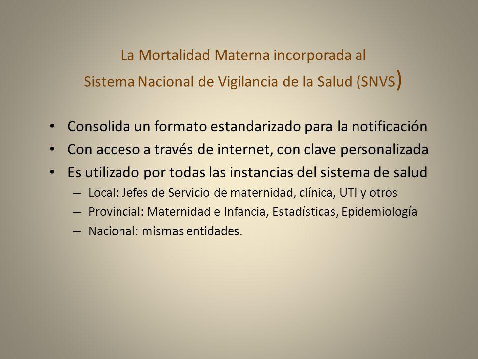 La Mortalidad Materna incorporada al Sistema Nacional de Vigilancia de la Salud (SNVS ) Consolida un formato estandarizado para la notificación Con ac