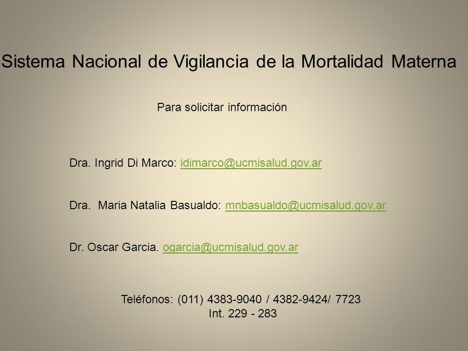 Dra. Ingrid Di Marco: idimarco@ucmisalud.gov.aridimarco@ucmisalud.gov.ar Dra. Maria Natalia Basualdo: mnbasualdo@ucmisalud.gov.armnbasualdo@ucmisalud.