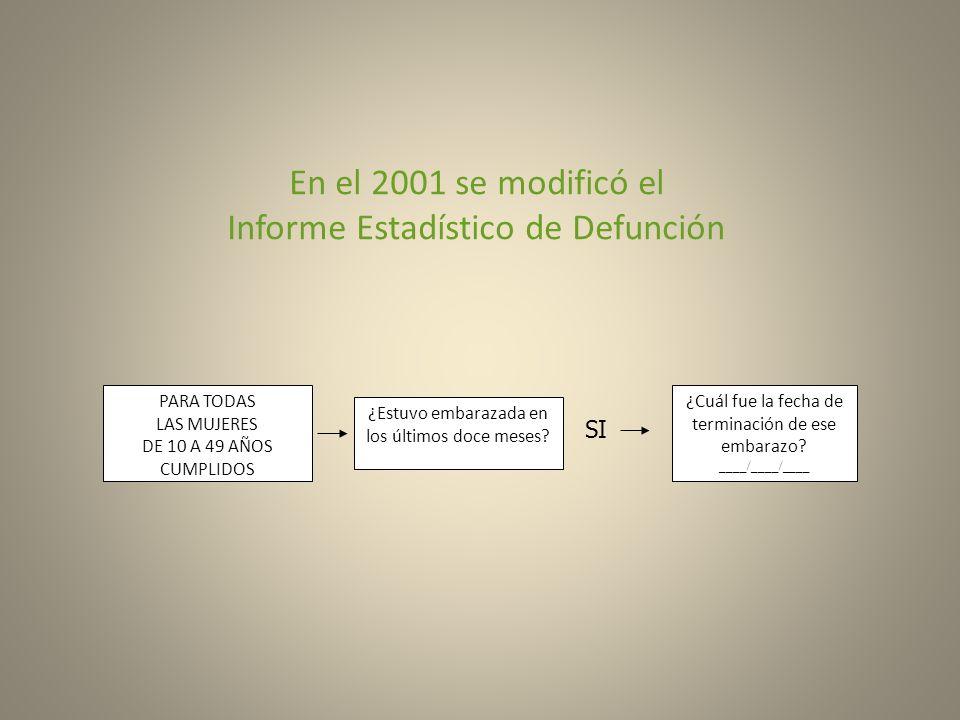 En el 2001 se modificó el Informe Estadístico de Defunción PARA TODAS LAS MUJERES DE 10 A 49 AÑOS CUMPLIDOS ¿Estuvo embarazada en los últimos doce mes