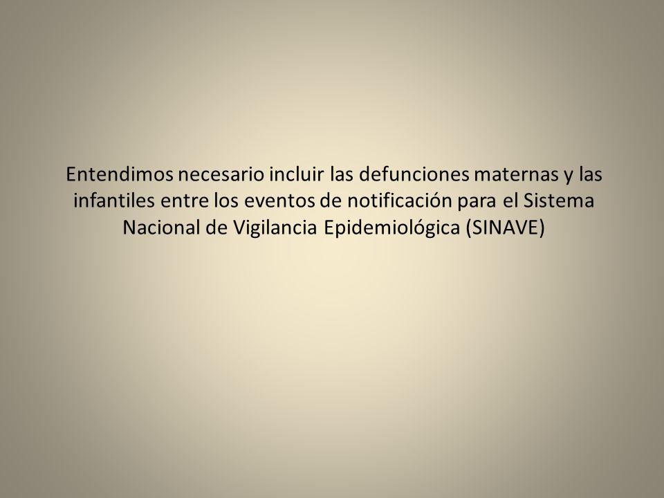 Entendimos necesario incluir las defunciones maternas y las infantiles entre los eventos de notificación para el Sistema Nacional de Vigilancia Epidem