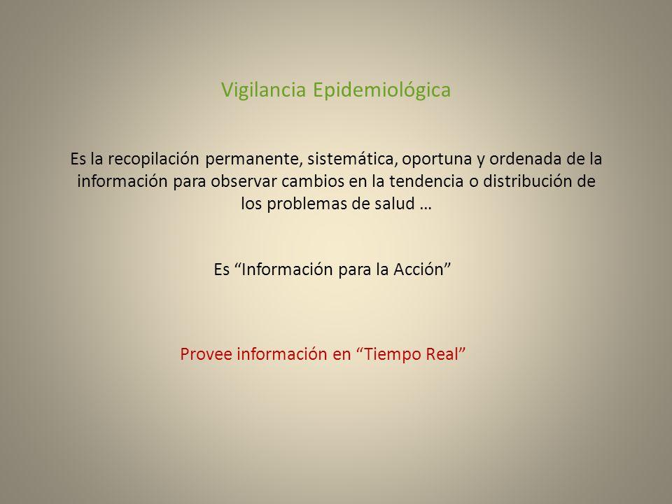 Vigilancia Epidemiológica Es la recopilación permanente, sistemática, oportuna y ordenada de la información para observar cambios en la tendencia o di