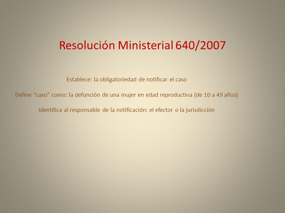 Resolución Ministerial 640/2007 Establece: la obligatoriedad de notificar el caso Define caso como: la defunción de una mujer en edad reproductiva (de
