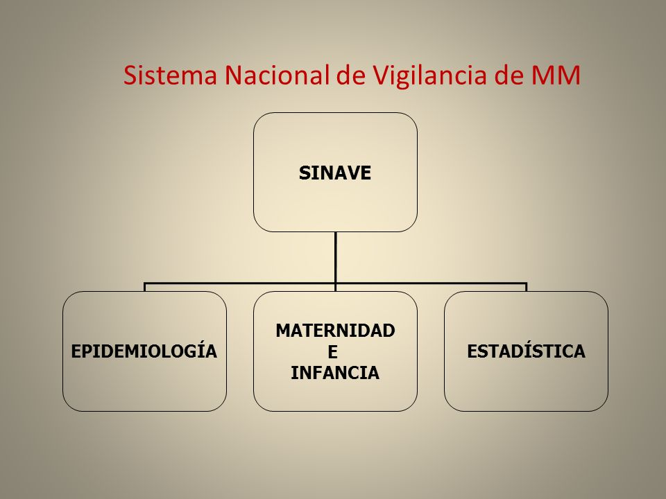 Sistema Nacional de Vigilancia de MM SINAVE EPIDEMIOLOGÍA MATERNIDAD E INFANCIA ESTADÍSTICA