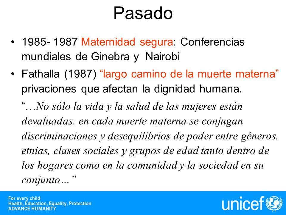 1985- 1987 Maternidad segura: Conferencias mundiales de Ginebra y Nairobi Fathalla (1987) largo camino de la muerte materna privaciones que afectan la dignidad humana.