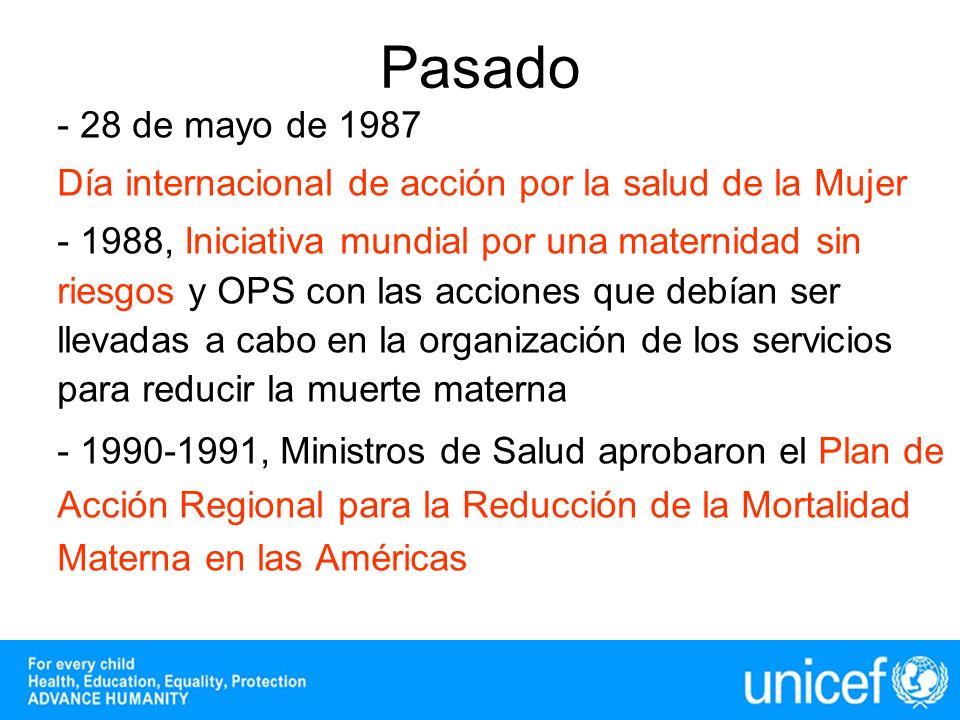 - 28 de mayo de 1987 Día internacional de acción por la salud de la Mujer - 1988, Iniciativa mundial por una maternidad sin riesgos y OPS con las acci