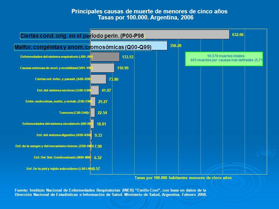 Principales causas de muerte de menores de cinco años Tasas por 100.000. Argentina, 2006 Fuente: Instituto Nacional de Enfermedades Respiratorias (INE