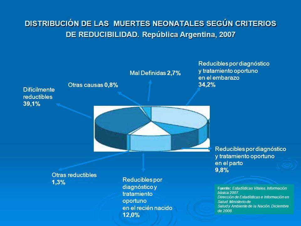 DISTRIBUCIÓN DE LAS MUERTES NEONATALES SEGÚN CRITERIOS DE REDUCIBILIDAD. República Argentina, 2007 Fuente: Estadísticas Vitales. Información básica 20