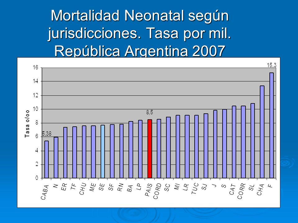 Mortalidad Neonatal según jurisdicciones. Tasa por mil. República Argentina 2007 (Santiago del Estero, datos no válidos)