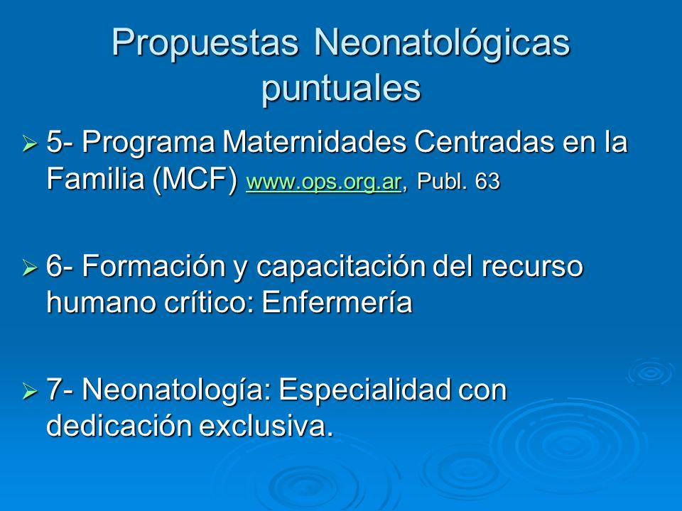 Propuestas Neonatológicas puntuales 5- Programa Maternidades Centradas en la Familia (MCF) www.ops.org.ar, Publ. 63 5- Programa Maternidades Centradas