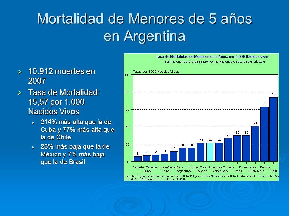 Mortalidad de Menores de 5 años en Argentina 10.912 muertes en 2007 10.912 muertes en 2007 Tasa de Mortalidad: 15,57 por 1.000 Nacidos Vivos Tasa de M