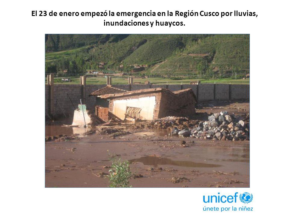 El 23 de enero empezó la emergencia en la Región Cusco por lluvias, inundaciones y huaycos.